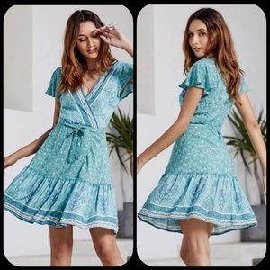 Gypsy Boho Hippie Wrap floral Dress blue